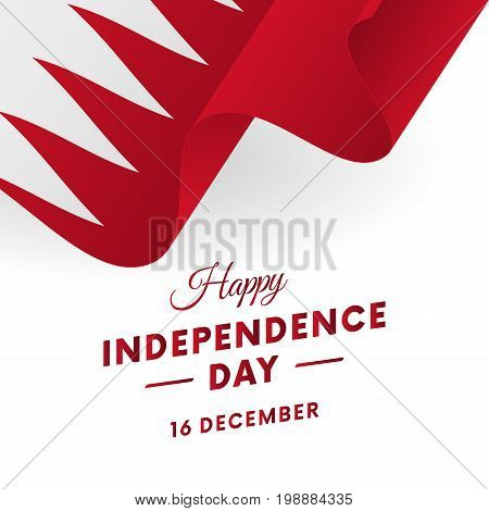 Bahrain Independence Day. 16 December. Waving flag. Vector illustration.