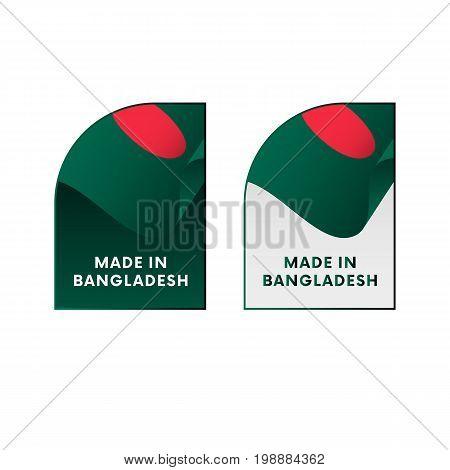 Stickers Made in Bangladesh. Waving flag. Vector illustration.