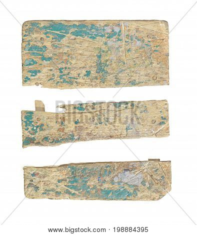 Board with peeling paint green isolated on white. Ancient wood with cracked paint. Painted green boards isolated.