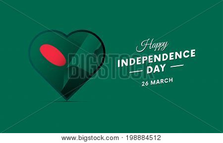 Bangladesh Independence Day. 26 March. Waving flag in heart. Vector illustration.