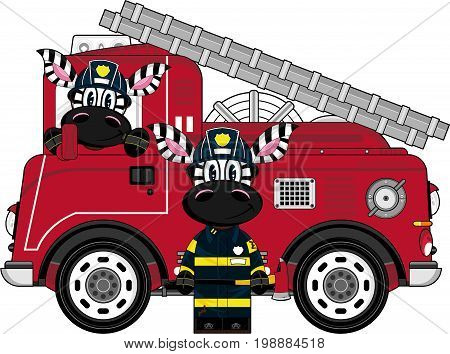 Cute Cartoon Zebra Fireman and Fire Truck - Firefighter Vector Illustration