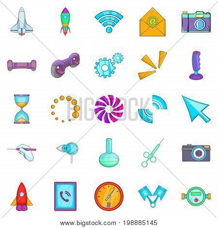 Progressive technology icons set. Cartoon set of 25 progressive technology vector icons for web isolated on white background