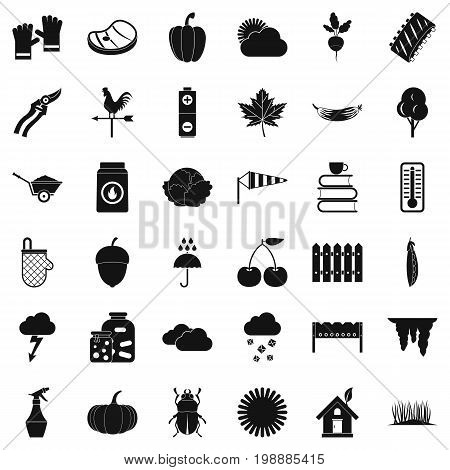 Autumn vegetable icons set. Simple style of 36 autumn vegetable vector icons for web isolated on white background