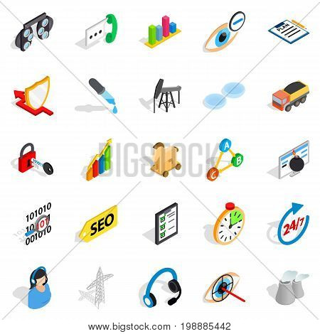 Future icons set. Isometric set of 25 future vector icons for web isolated on white background