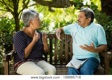 Senior couple hugging each other at the park