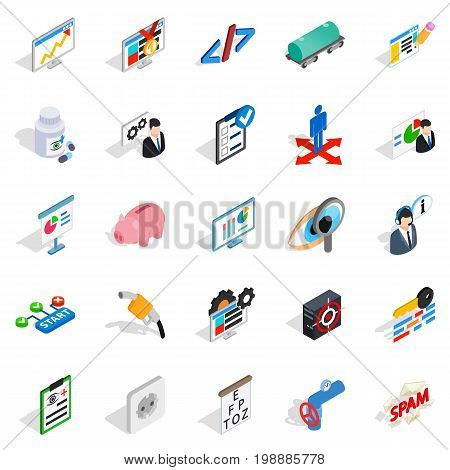 Hi tech icons set. Isometric set of 25 hi tech vector icons for web isolated on white background