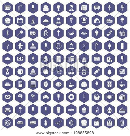 100 dessert icons set in purple hexagon isolated vector illustration