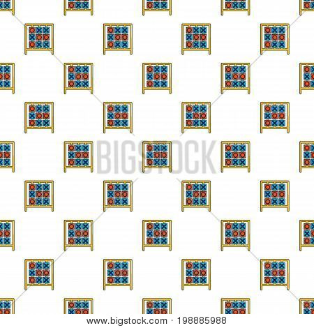 Tic tac toe game pattern in cartoon style. Seamless pattern vector illustration