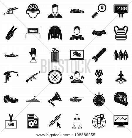 Big victory icons set. Simple style of 36 victory big vector icons for web isolated on white background