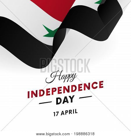 Syria Independence Day. 17 April. Waving flag in heart. Vector illustration.