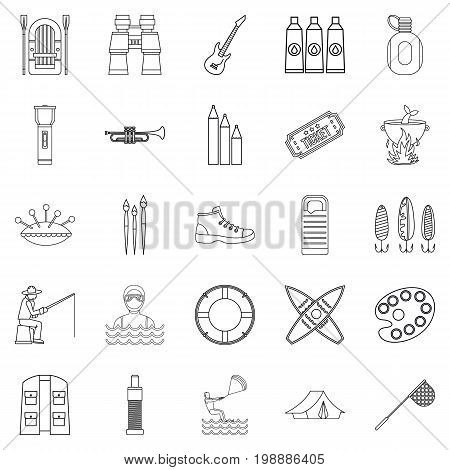 Entertainment on the water icons set. Outline set of 25 entertainment on the water vector icons for web isolated on white background