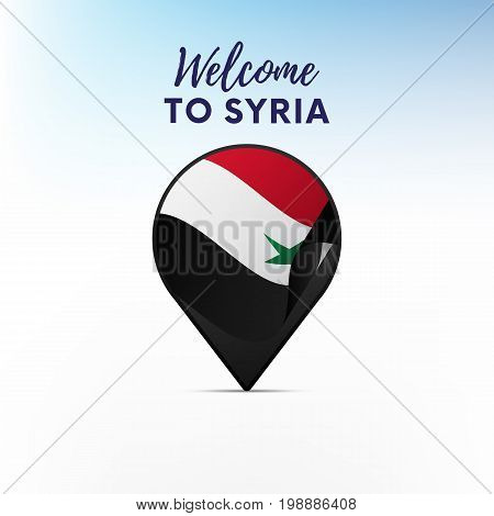 Flag of Syria in shape of map pointer or marker. Welcome to Syria. Vector illustration.