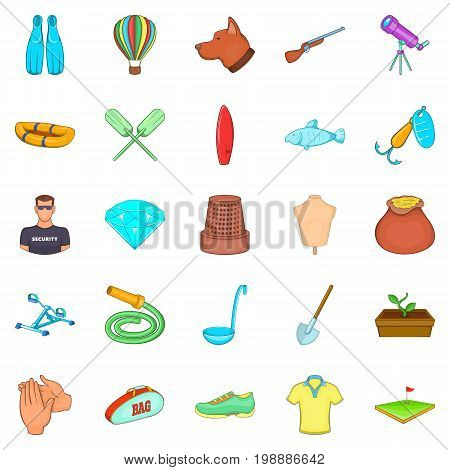 Theatrical hobby icons set. Cartoon set of 25 theatrical hobby vector icons for web isolated on white background