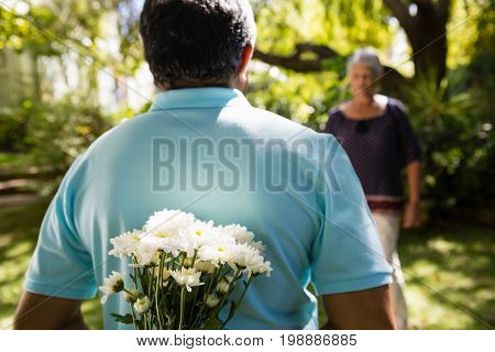 Mid-section of senior man hiding flowers behind back in garden