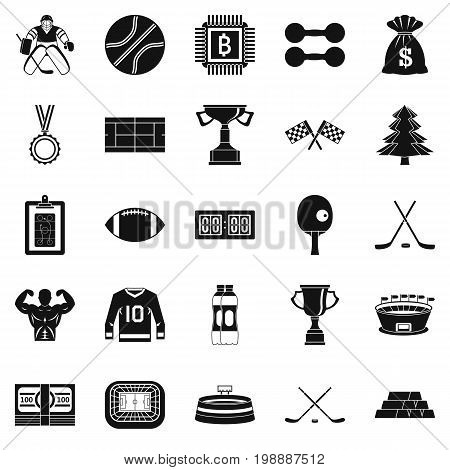 Athlete salary icons set. Simple set of 25 athlete salary vector icons for web isolated on white background poster