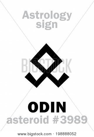 Astrology Alphabet: ODIN (Woden), asteroid #3989. Hieroglyphics character sign (single symbol).