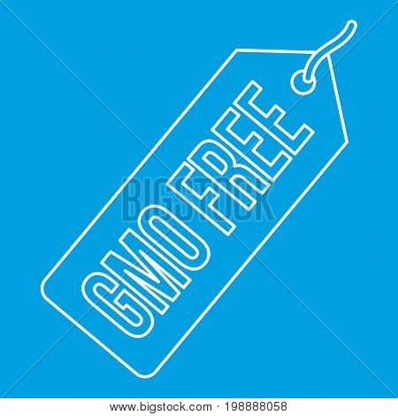 Gmo free label icon blue outline style isolated vector illustration. Thin line sign