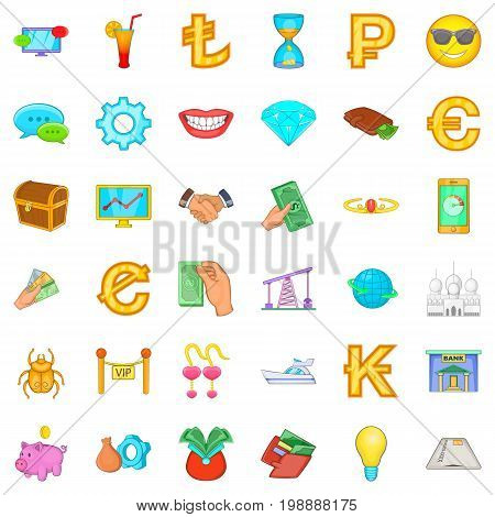 Riches icons set. Cartoon style of 36 riches vector icons for web isolated on white background