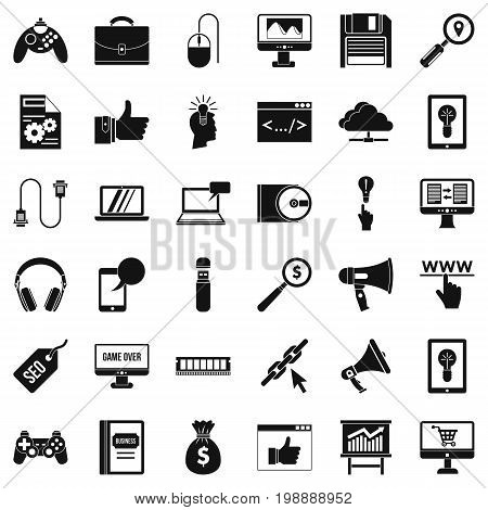 Web link icons set. Simple style of 36 web link vector icons for web isolated on white background