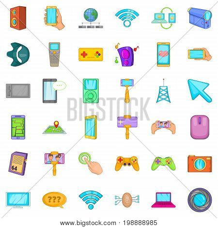 Web page icons set. Cartoon style of 36 web page vector icons for web isolated on white background