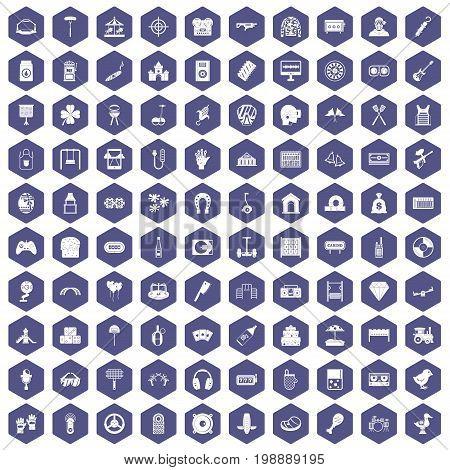 100 entertainment icons set in purple hexagon isolated vector illustration