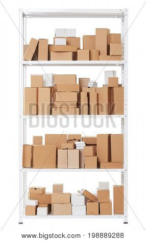 Shelving with different cardboard boxes, isolated object photo on white background