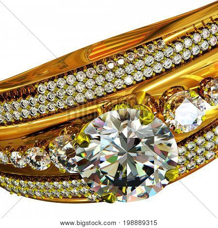 Gold ring with gem for engagement . Cropped shot of macro luxury jewellery bijouterie with gemstone for people in love . Big diamond close-up on isolated. 3D rendering.