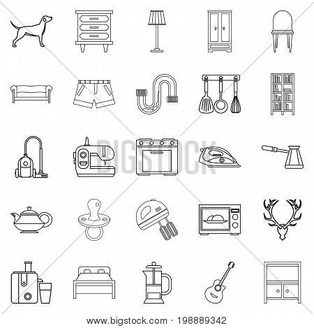 Bedroom icons set. Outline set of 25 bedroom vector icons for web isolated on white background