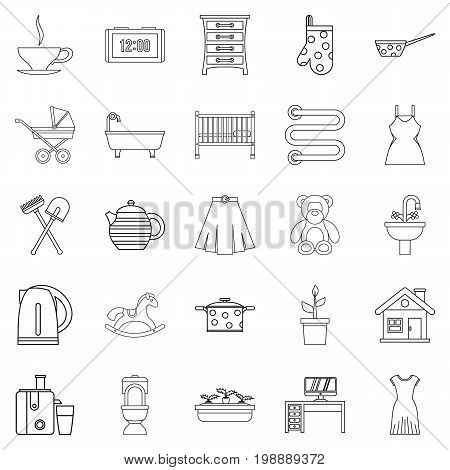 Large room icons set. Outline set of 25 large dining room vector icons for web isolated on white background