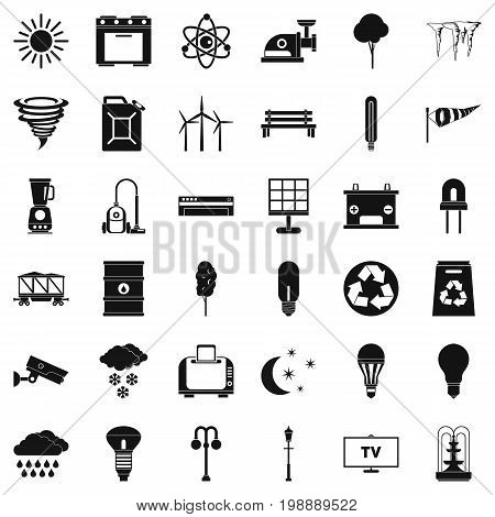 Agriculture windmill icons set. Simple style of 36 agriculture windmill vector icons for web isolated on white background