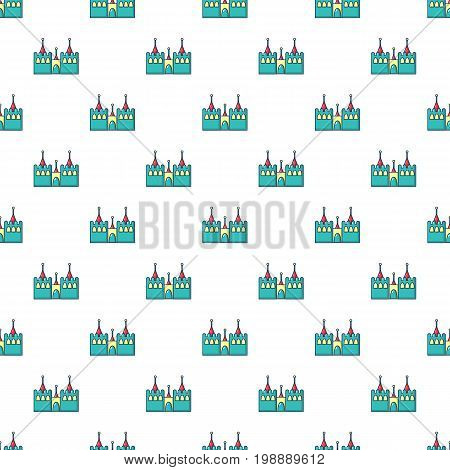 Bouncy castles pattern in cartoon style. Seamless pattern vector illustration