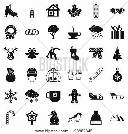 Winter weather icons set. Simple style of 36 winter weather vector icons for web isolated on white background