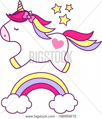 cute unicorn with rainbow and stars isolated on white background