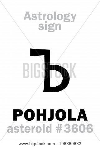 Astrology Alphabet: POHJOLA, asteroid #3606. Hieroglyphics character sign (single symbol).