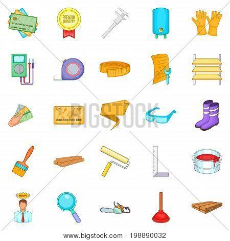 House reconstruction icons set. Cartoon set of 25 house reconstruction vector icons for web isolated on white background
