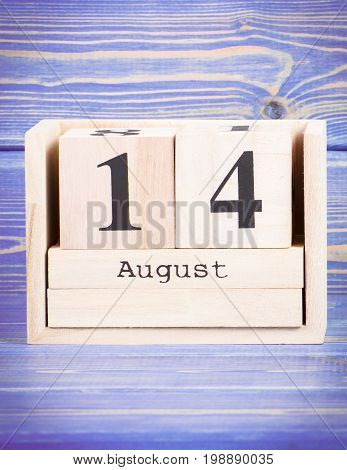 August 14Th. Date Of 14 August On Wooden Cube Calendar