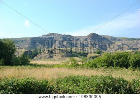Photo from down in the river valley near the day use area of Dry Island Buffalo Jump Provincial Park in Alberta, Canada.