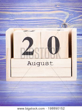 August 20Th. Date Of 20 August On Wooden Cube Calendar
