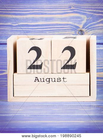 August 22Th. Date Of 22 August On Wooden Cube Calendar