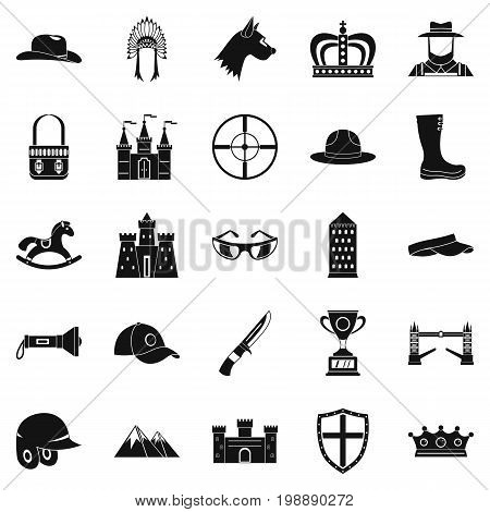 Equestrian icons set. Simple set of 25 equestrian vector icons for web isolated on white background