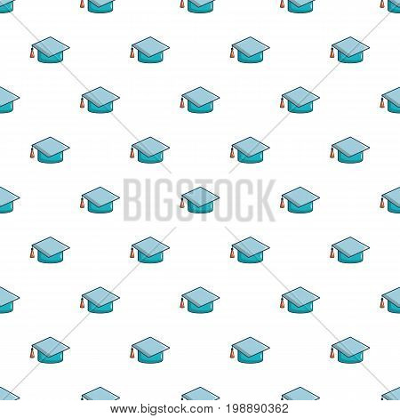 Graduation hat pattern in cartoon style. Seamless pattern vector illustration