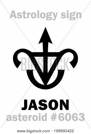 Astrology Alphabet: JASON, asteroid #6063. Hieroglyphics character sign (single symbol).