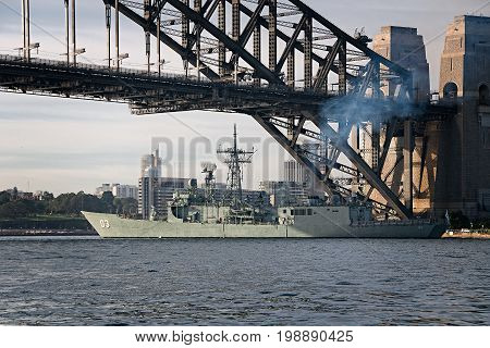 SYDNEY AUSTRALIA - October 5th. 2013: Warship HMAS Sydney at Australian Navy Centenary Celebrations. Sydney Harbour New South Wales Australia.