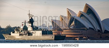 SYDNEY AUSTRALIA - October 5th. 2013: Warship HMAS. Perth at Australian Navy Centenary Celebrations. Sydney Harbour New South Wales Australia.