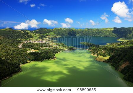 Lanscape from the volcanic crater lake of Sete Citades in Sao Miguel Island of Azores Portugal