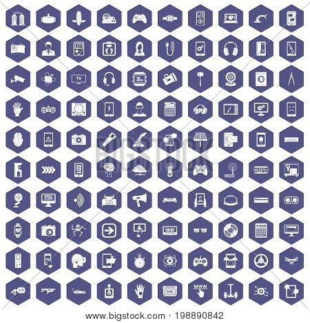 100 gadget icons set in purple hexagon isolated vector illustration
