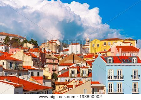 Aerial view of Alfama, the oldest district of the Old Town on the sunny afternoon, Lisbon, Portugal