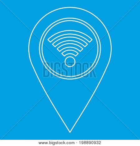 Geo tag with wi fi sign icon blue outline style isolated vector illustration. Thin line sign