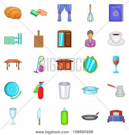 Boarding house icons set. Cartoon set of 25 boarding house vector icons for web isolated on white background
