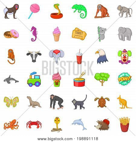 Animal zoo icons set. Cartoon style of 36 animal zoo vector icons for web isolated on white background